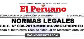 "Instructivo Técnico de ""Manual de Mantenimiento 2019"""